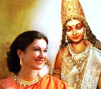 Ananda with one of her Devi paintings